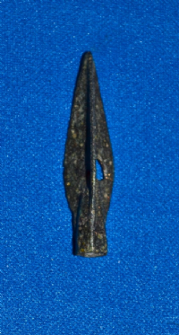 "A large and pleasant Ancient Greek bronze ""Tri-lobe"" socketed arrowhead. SOLD"